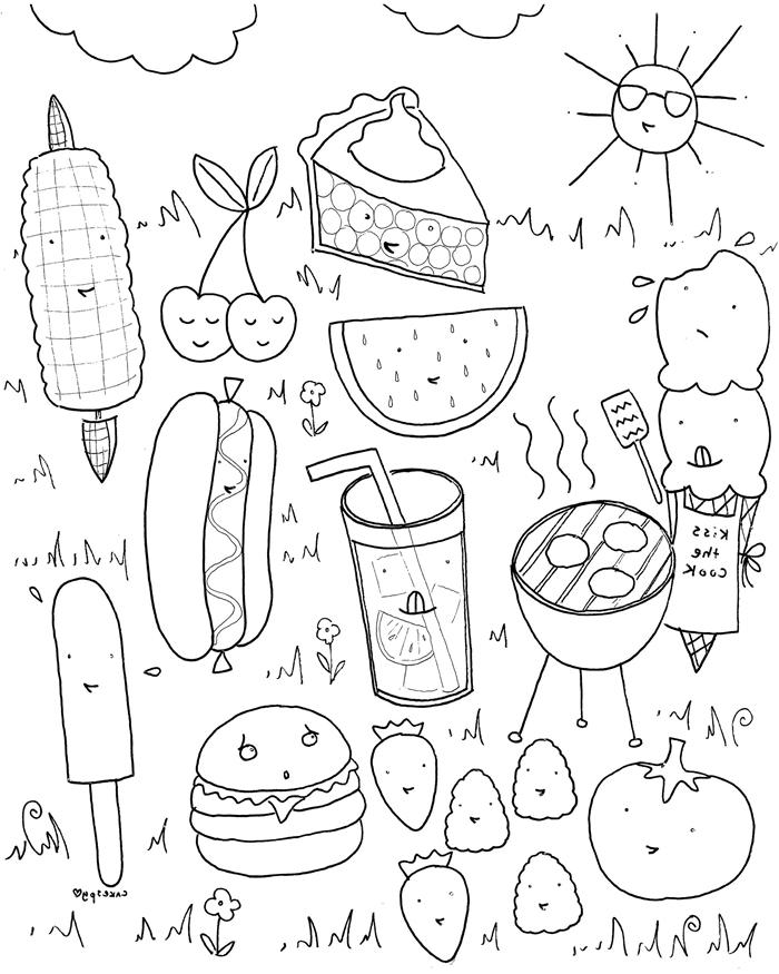 soleil lunettes nuage fruits légumes fleurs coloriage d été enfant boisson glacée pastèque céries crème glacée gâteau nourriture illustration