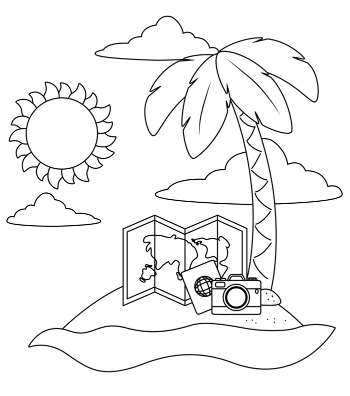 soleil nuage palmier paysage île vacances été carte monde voyage appareil photo dessin à colorier facile pour enfant