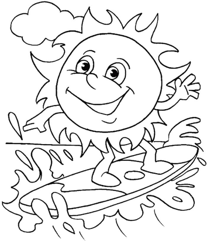 soleil sourire yeux coloriage dessin pour enfant facile nuage soleil surf vagues mer repos sur plage vacances d été dessin à imprimer
