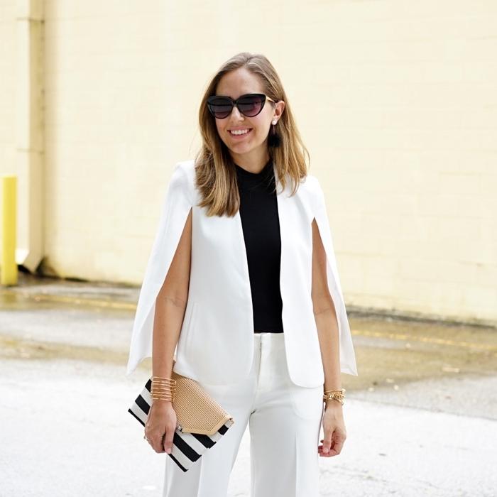 style vestimentaire femme au travail tenue femme élégante blazer blanc sans manches style bcbg polo noir pantalon blanc
