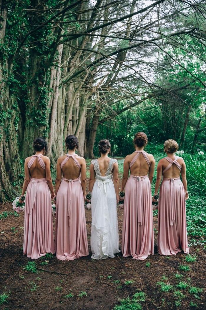 tenue invitée mariage champêtre couleurs vêtements cérémonie bohème robe invité mariage été couleur rose poudré dos ouvert