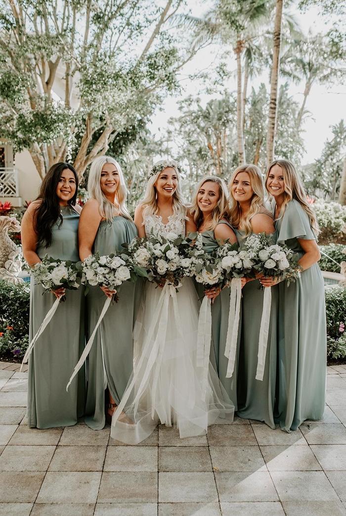 tenue invitée mariage champêtre robe couleur vert foncé pastel robe pour mariage invité style champêtre robe manches courtes