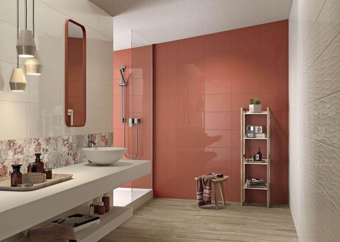 terracotta couleur décoration salle de bain moderne crédence carrelage motifs floraux meuble rangement vertical étagère tabouret bois