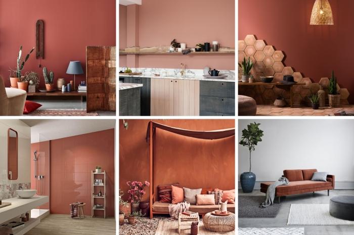 terracotta couleur peinture mur terre cuite décoration intérieure style boho moderne design contemporain canapé terracotta cactus