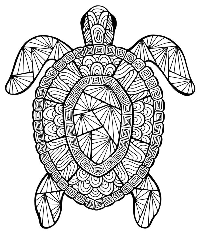 thérapie antistress gratuite coloriage mandale dessin été tortue marine lignes géométriques coloriage loisir été relaxation