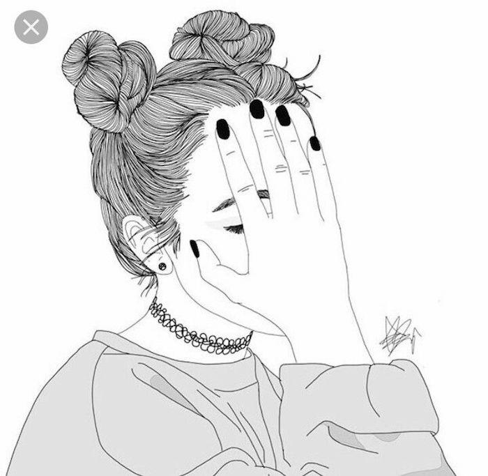 une fille tumblr image cheveux en deux chignons hauts chalker style annee 90 fille tumblr dessin quel est le plus beau dessin du monde