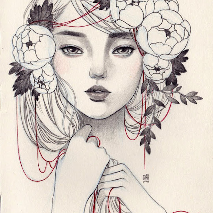 flower girl drawing tumblr clover gao drawing arts gallery