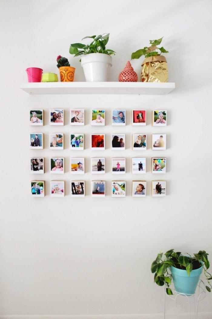 étagère blanche pots fleur collage photos polaroids deco photo originale à faire soi même mur blanc personnalisé avec photos instagram