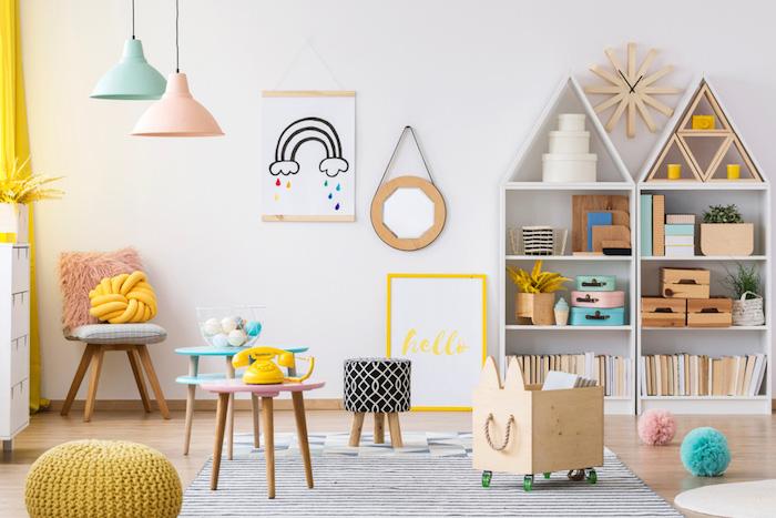01 salle de jeux pour enfants meuble de rangement enfant coloré lustre rangement étagère forme de maison