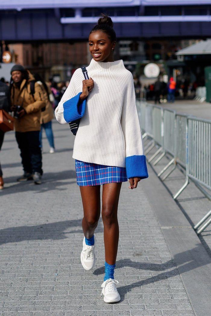 adorable idée tenue lycée pull ado long et jupe mini carré mode ado fille inspiration tenue pour ado fille belle robe ado