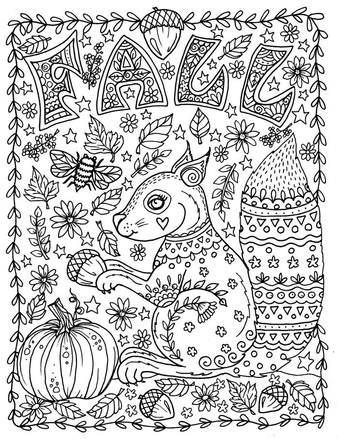animaux forêt nature automne feuilles glands citrouille écureuil feuille automne dessin blanc et noir art thérapie coloriage