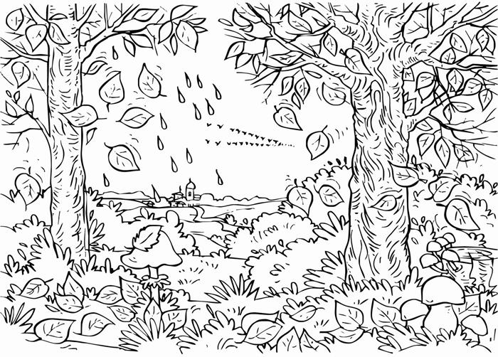 anti stress thérapie dessin à imprimer pour adultes coloriage paysage saison nature automne relaxation page à colorer