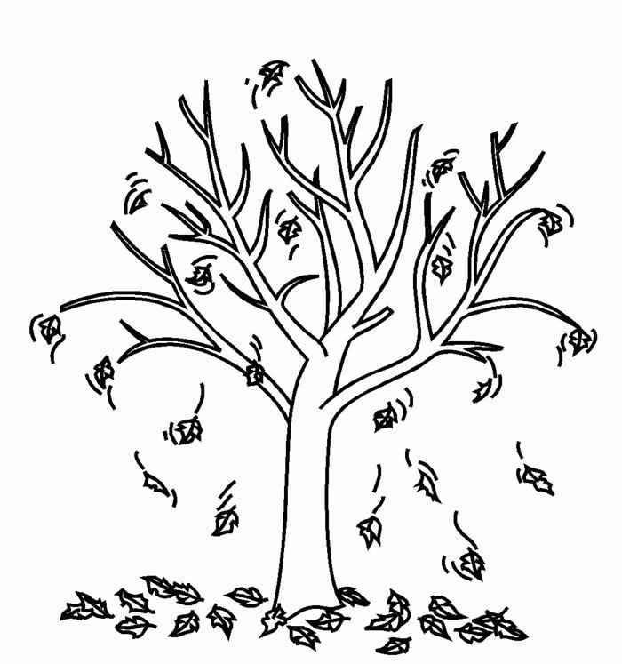 arbre automne dessin blanc et noir détails coloriage simple pour enfant page à colorier sur thème nature feuilles automne
