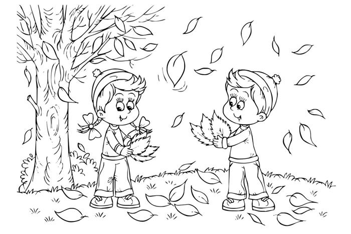 arbre automne dessin coloriage enfant paysage nature feuilles automne arbre fille et garçon ramassent feuilles tombantes vent gazon