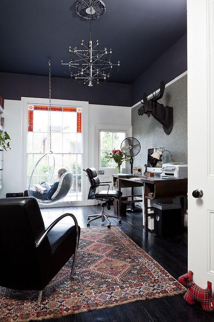 beau design maison tapis oriental fauteuil noir cuir balancoire oeuf meilleure peinture plafond noir comment associer les couleurs