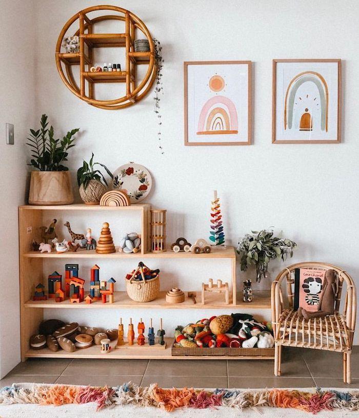 belle chambre d enfant bois cool et simple déco rangement jouet chambre meuble enfant ikea simple idée originale