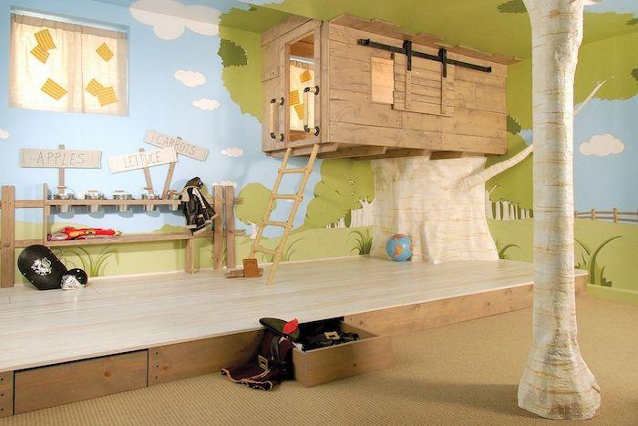 bleu et vert papier peinte peinture champ jour d été maison en bois pour lit déco salle de jeux boite rangement ikea decoration