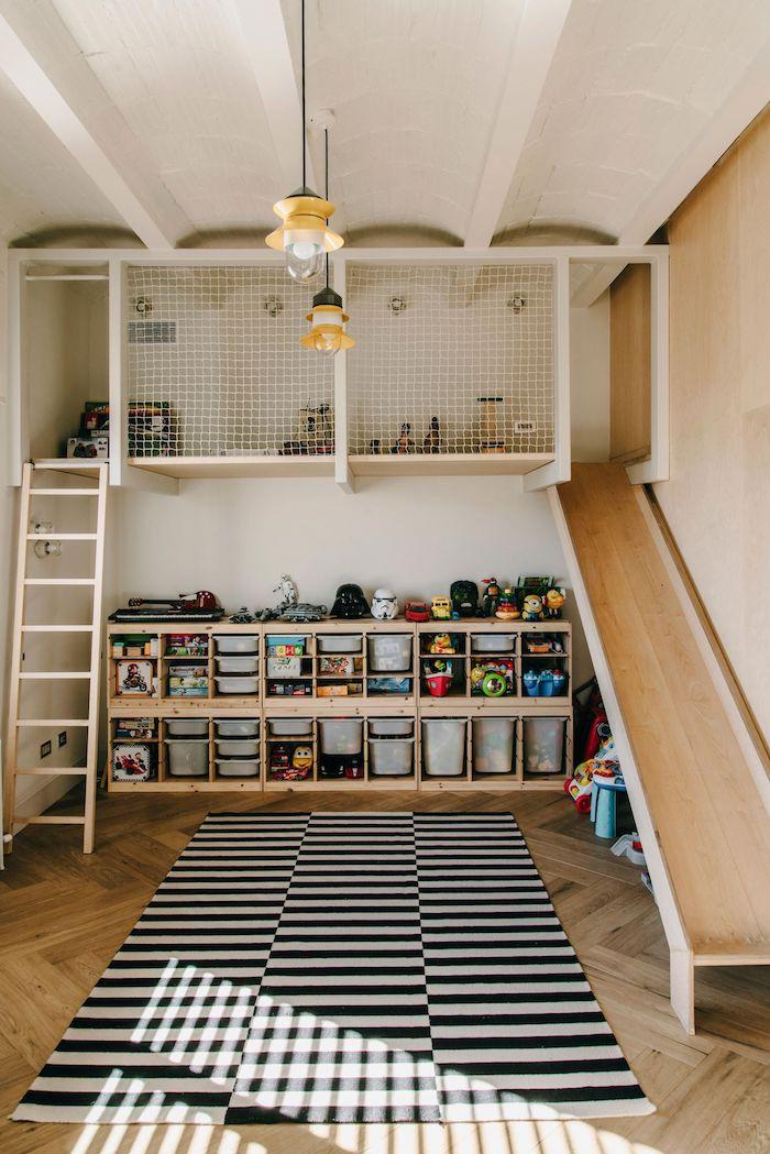 bois meubles bonne idée comment décorer peinture salle de jeux meuble de rangement jouet décoration jolie toboganne