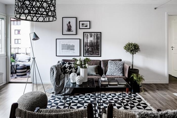cadre noir et blanc décoration murale avec photos luminaire noir canapé gris anthracite coussin fausse fourrure grise