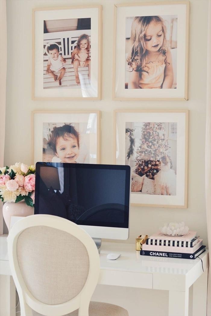 cadre photo original décoration bureau à domicile coin de travail maison bureau blanc chaise blanche livre vase bouquet rose