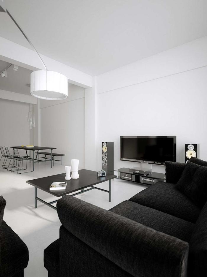 canapé noir table basse noire deco noir et blanc design salon moderne salle à manger ouverte salon vase blanc luminaire