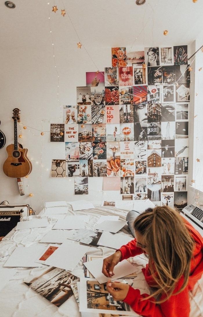 chambre ado comment habiller un mur blanc guitare guirlande lumineuse fille coupures de magazines page photographies inspirantes