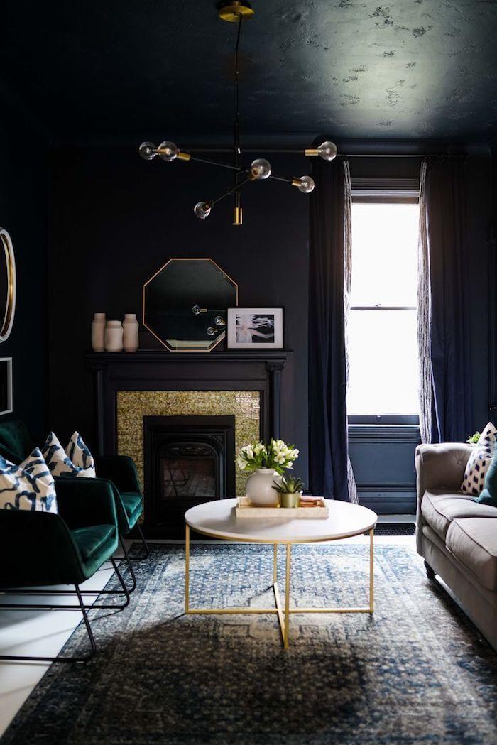 chambre tout noir salon moderne couleurs sombres decoration plafond couleur maison inspiration style intérieur