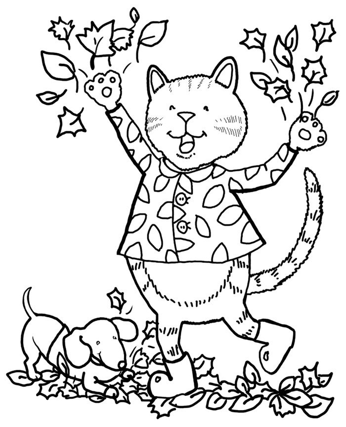 chat souriant petit chien promenade nature forêt pattes animal de compagnie amitié coloriage 3 ans dessin facile enfant