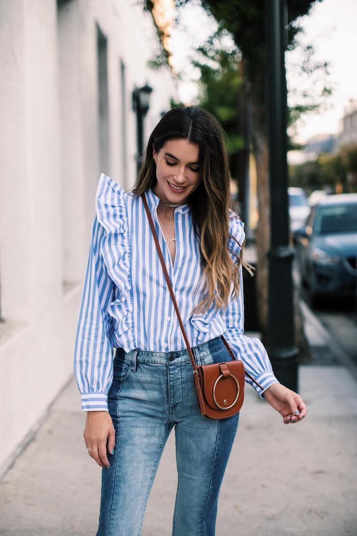 chemise manche longue jean long et chemise rayé bleu et blanc fille de 14 ans belle combiner les differents vetements pour belle tenue