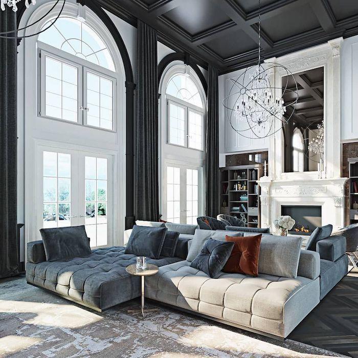 chic maison repeindre un plafond idée peinture plafond couleur maison plafonds hautes canapé en angle gris