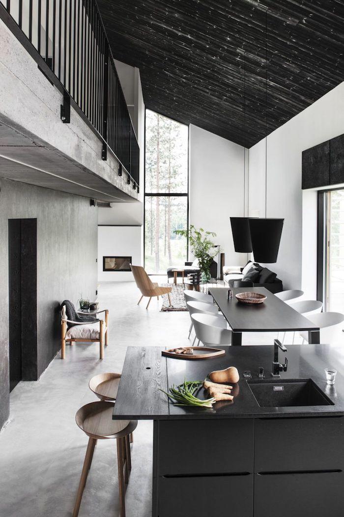 chouette maison industriel style gris mur grand fenetre decoration plafond comment décorer une maison tendance cuisine et salle a manger
