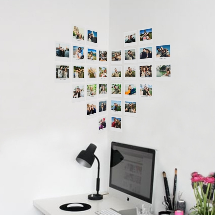 coeur en photo déco murale aménagement coin de travail domicile télétravail bureau blanc lampe bureau noire mur blanc
