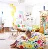 coloré chambre magnifique rotin meubles tapis ronde peinture salle de jeux meuble de rangement jouet décoration jolie