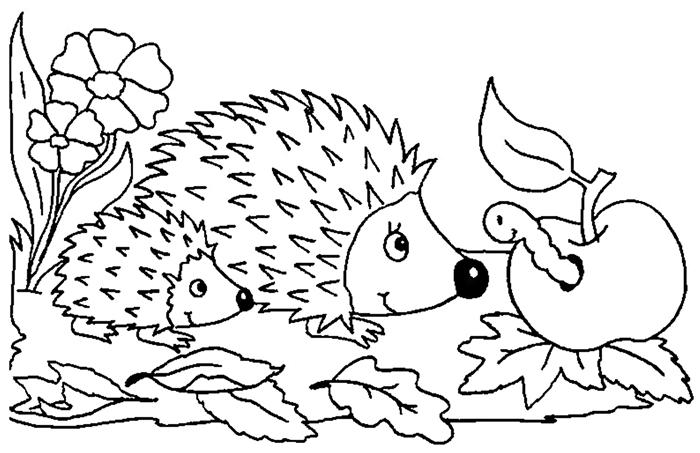 coloriage 3 ans simple en détails plan feuilles séchées pomme animaux forêt page à colorier pour enfant hérisson famille