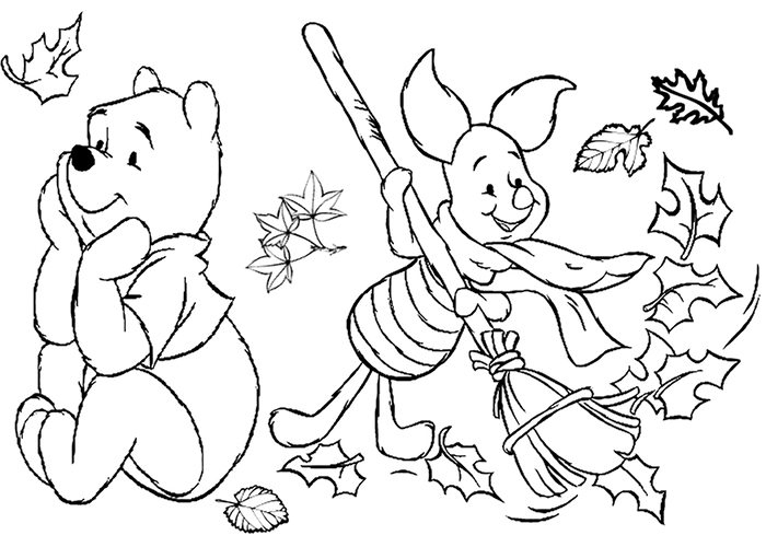 coloriage automne amitié ourson nature feuilles séchées page à colorier dessin blanc et noir winnie ourson piglet balaie