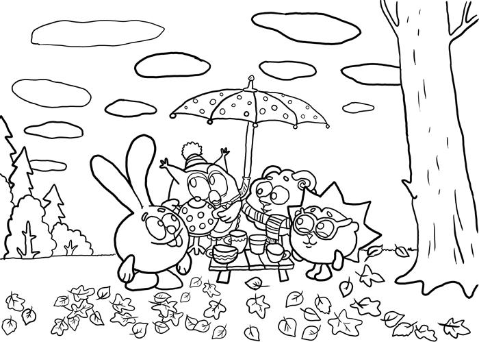 coloriage automne pour enfant paysage forêt nature dessin crayon à colorier amis animaux arbres feuilles par terre nuages ciel