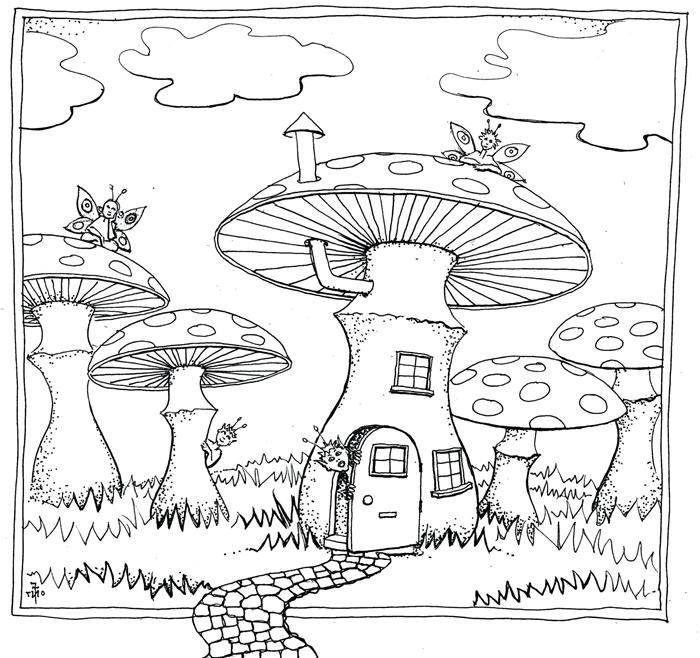 coloriage champignon dessin en détails activité créative occupation enfant page à colorier rêverie géant champignons