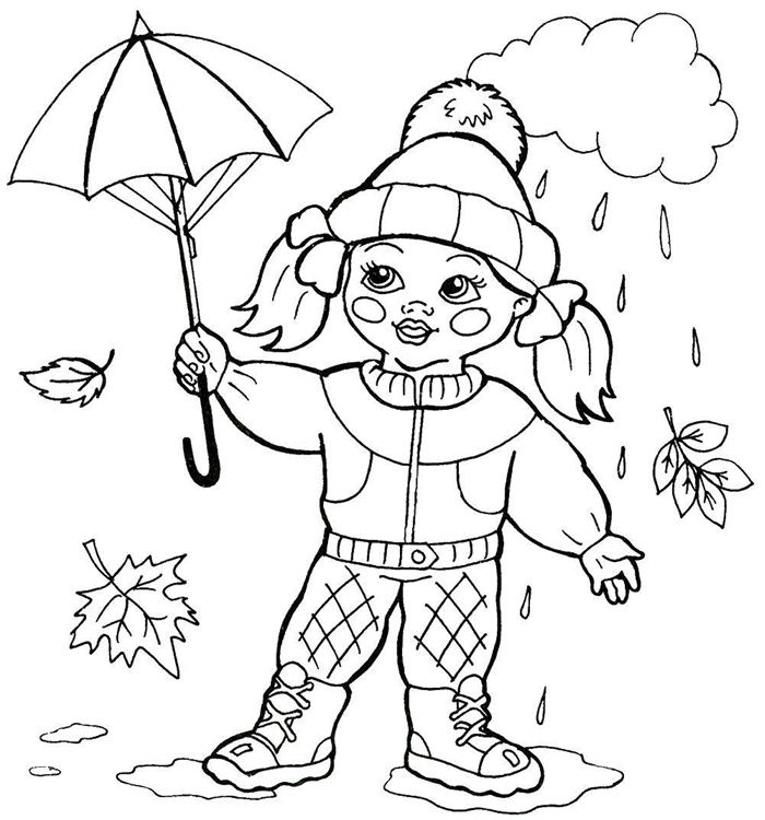 coloriage de fille nature automne saison pluie nuage parapluie feuilles qui tombent bottes petite fille bonnet pompon