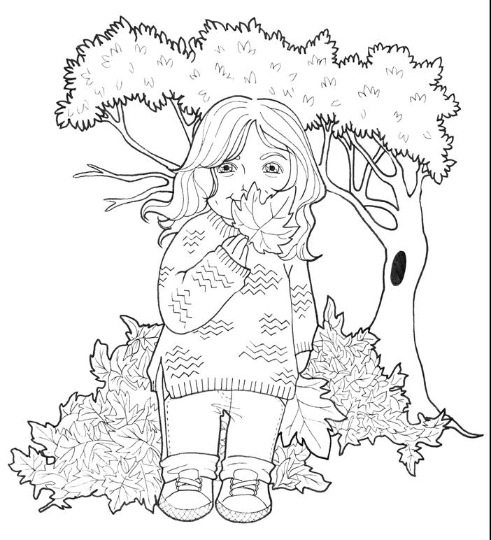 coloriage de fille promenade nature paysage forêt automne arbre tas de feuilles séchées petite fille pullover cheveux ondulés