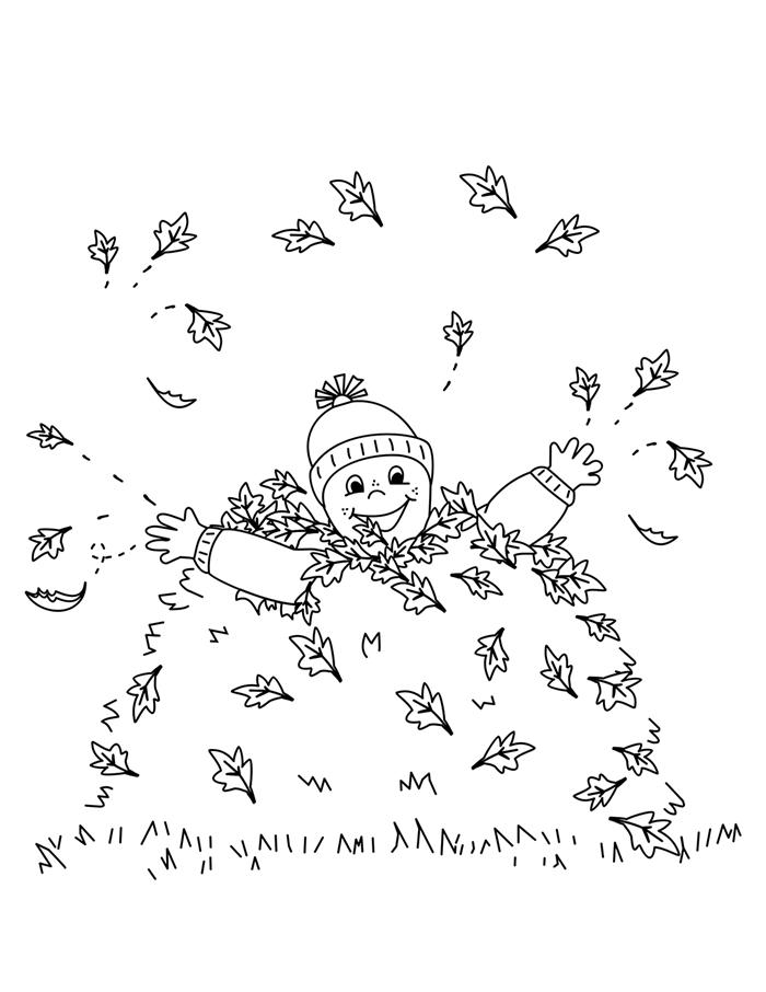 coloriage novembre maternelle jeux loisir créatif occupation enfant nature feuilles d automne petit garçon bonnet dessin