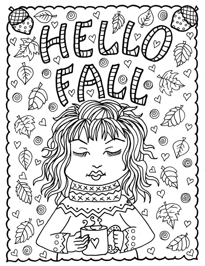 coloriage thérapie anti stress activité amusante relaxation dessin automne à colorier page coloriage pour adulte mug café fille