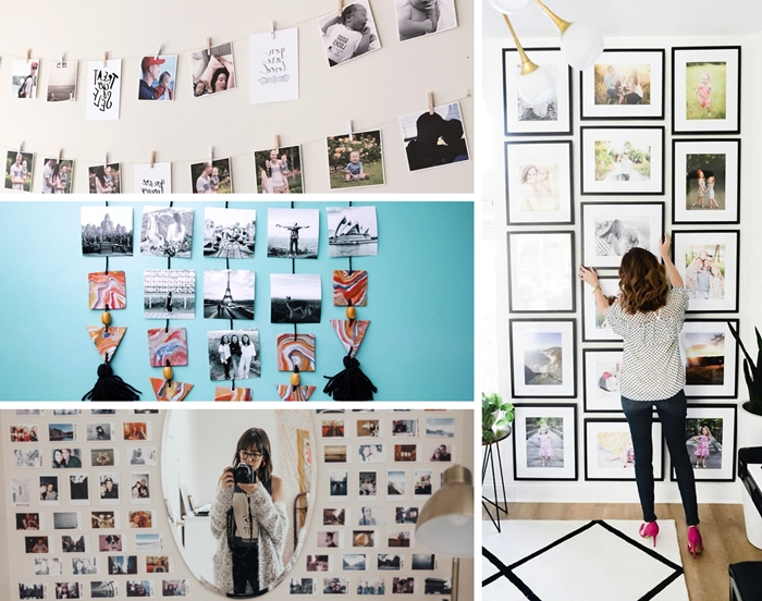 comment accrocher photos sur mur idee decoration murale originale avec photo salon mur blanc