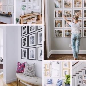comment decorer les murs dans un couloir avec photos collage mural design entree meubles accents dores