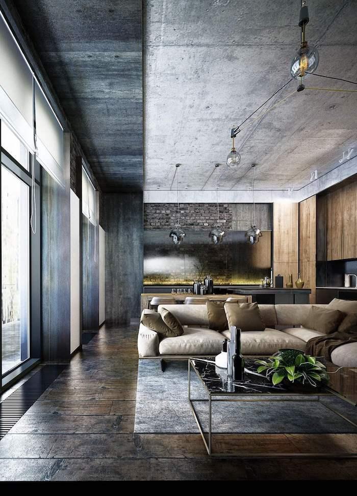 conception maison moderne décoration de plafond chouette idée déco maison moderne canapé beige cuisine ouverte salon