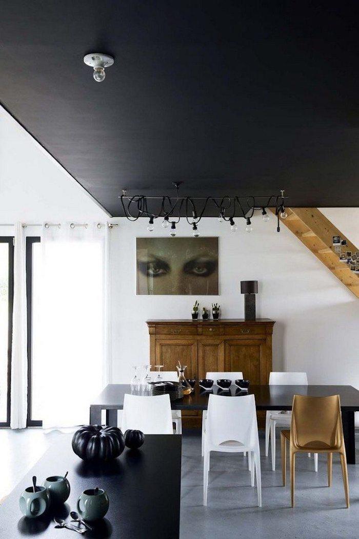 cool idée salle a manger moderne maison escalier bois plafond noir design d intérieur moderne et luxueux tendances 2020