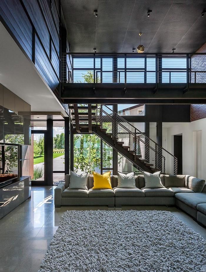 cool maison ultra moderne style industriel couleur maison lumière de jour et artificiel led pour déco joviale tapis shaggy