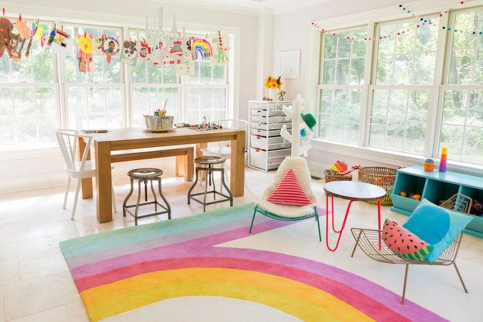 créative salle de jeux enfant meuble rangement jouet beau intérieur tapis arc en ciel rangement chambre fille idée déco salle de jeux enfant créatif