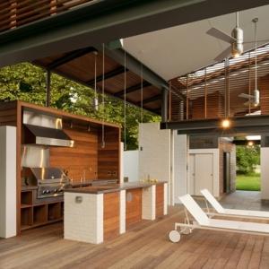 timber louvers provide sun control.