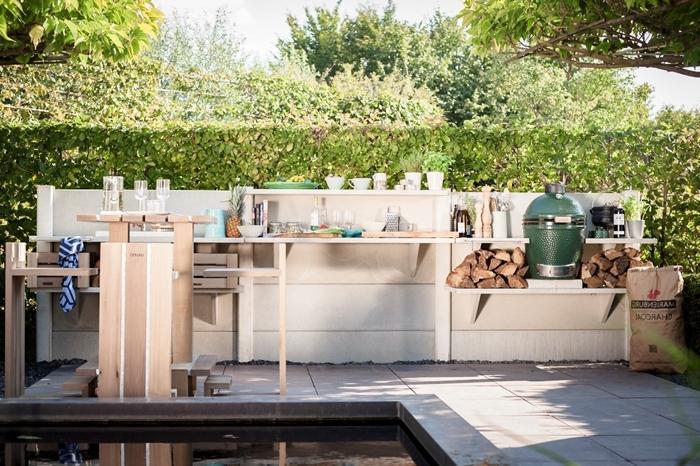 cuisine exterieure bois décoration rangement meuble bois blanc agencement cuisine piscine bar meubles bois étagère