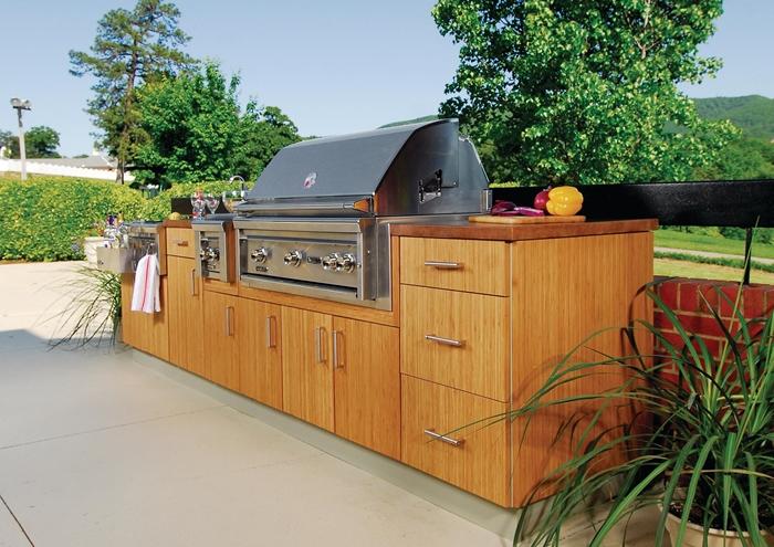 déco cour arrière jardin équipement meuble extérieur armoires bois plan de travail amenagement cuisine exterieur plantes vertes